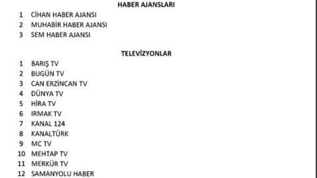 16 televizyon, 3 haber ajansı ve 45 gazete kapatıldı