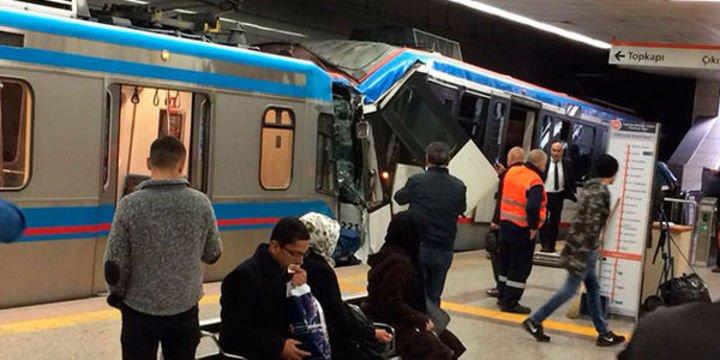 Topçular istasyonunda tramvaylar çarpıştı