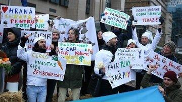 """Brüksel'de """"tarım ve gıda"""" protestosu"""