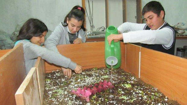 Öğrenciler okulda solucan gübresi üretiyor